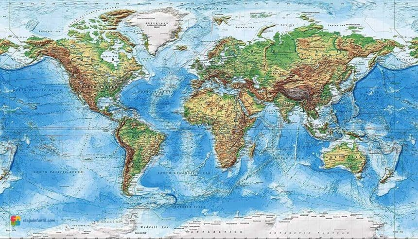 mapamundi con todos los continentes