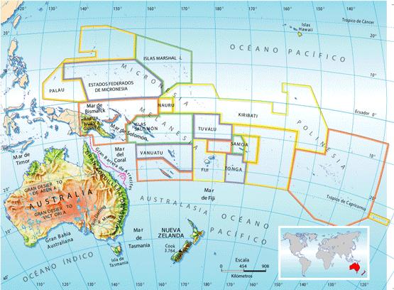 Mapa De Oceania Fisico En Español.Mapas De Australia Y Oceania Para Imprimir Actualizado