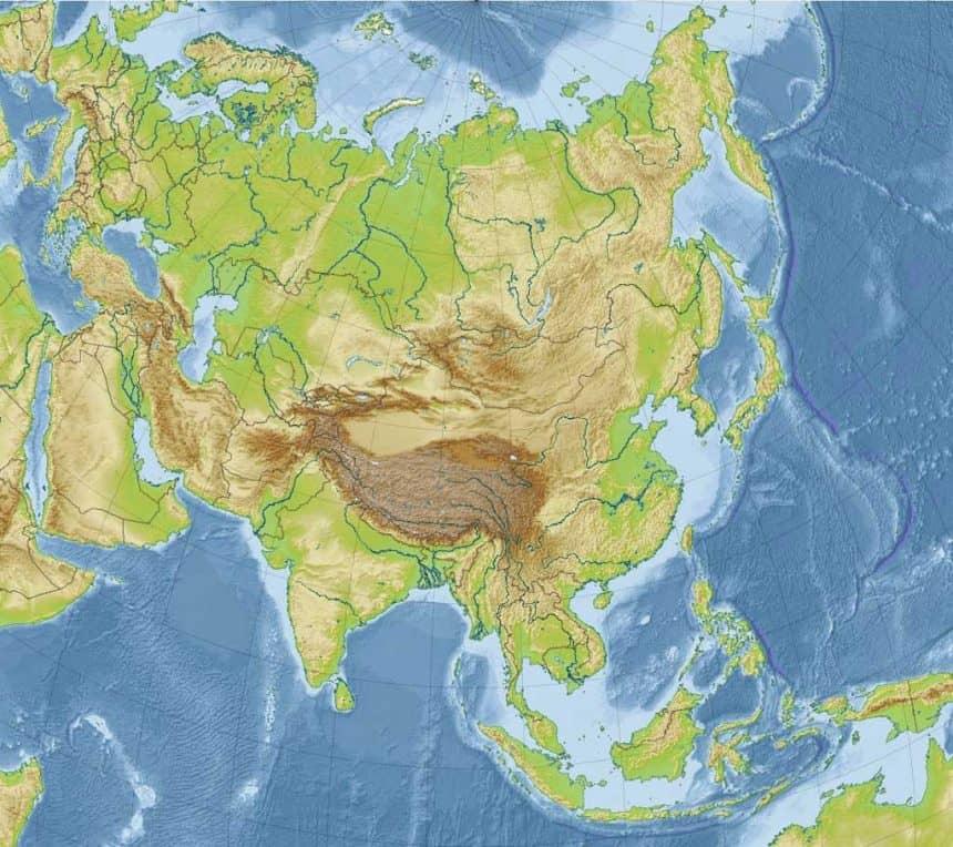 mapa vacia de asia, en color