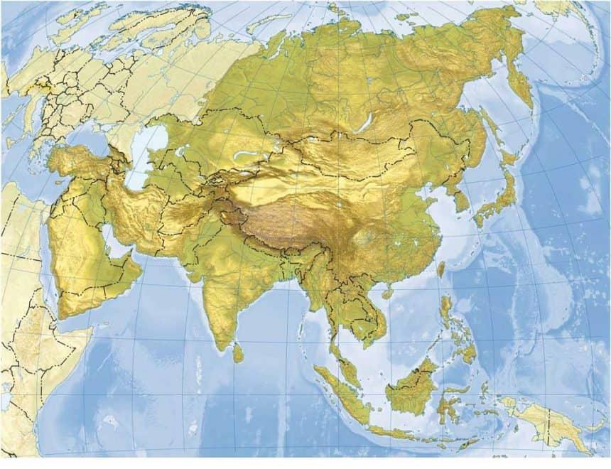 mapa mudo de asia en color con paises