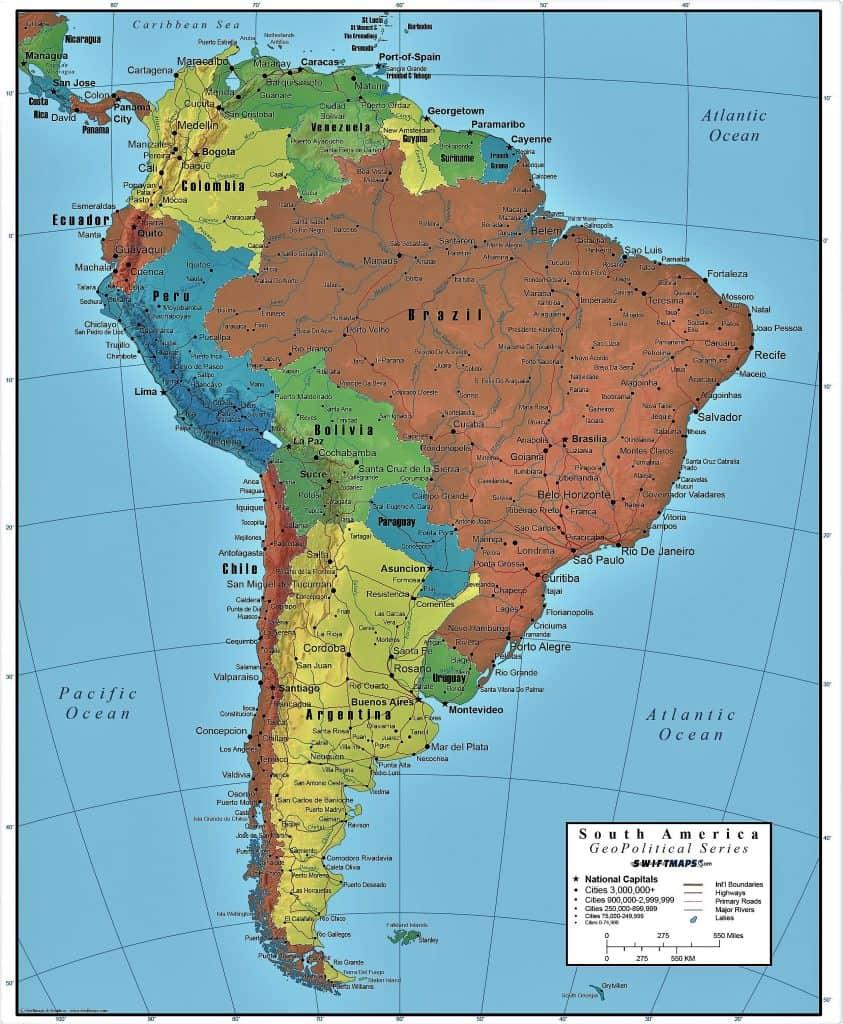 Mapa De America Del Sur Mapa Politico Y Fisico 2020