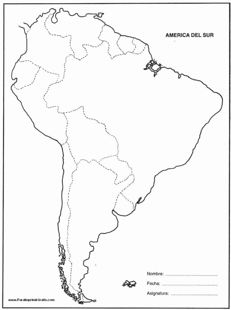 mapa politico sudamerica blanco y negro