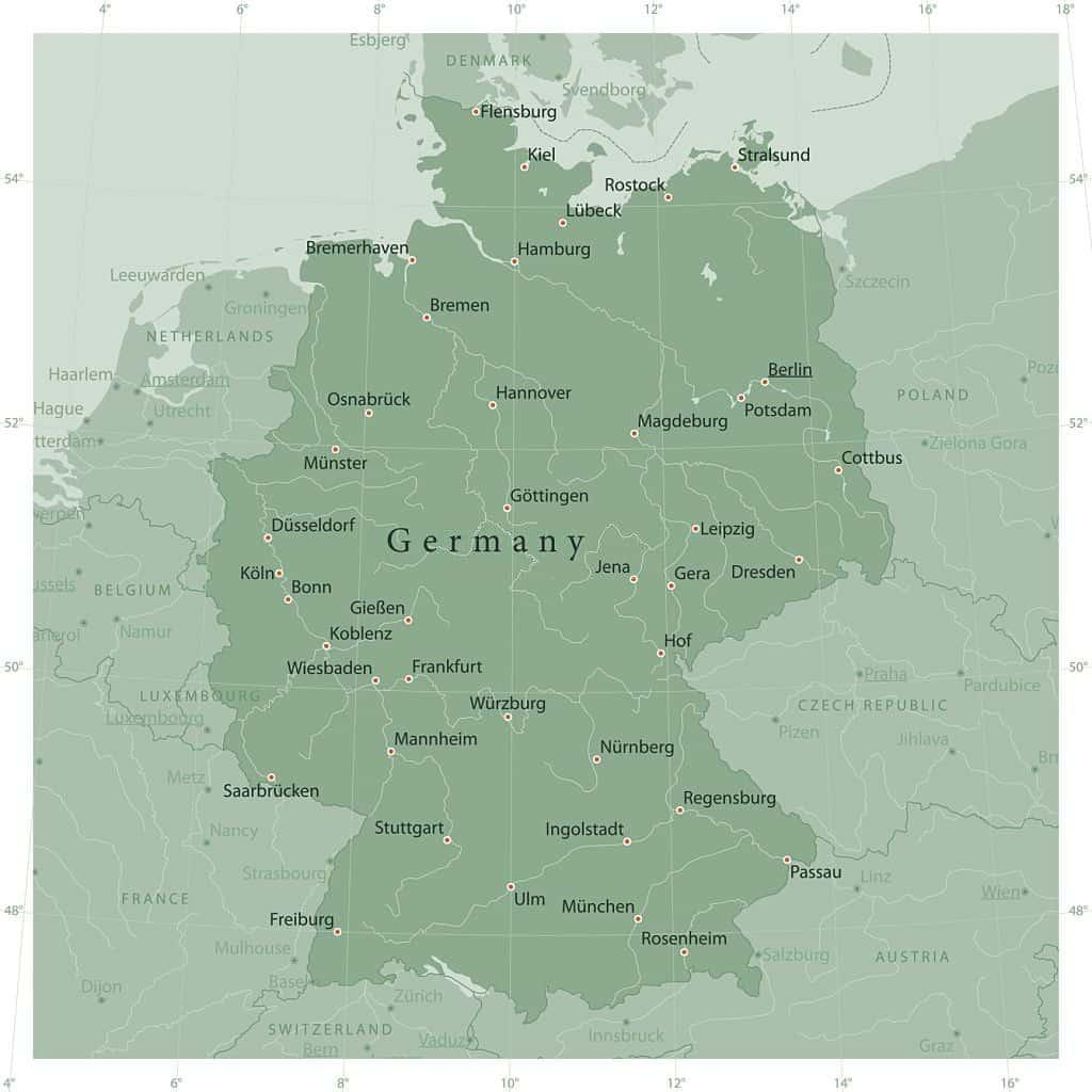 mapa de regiones alemanes