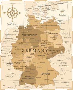 mapa de Alemania vintage