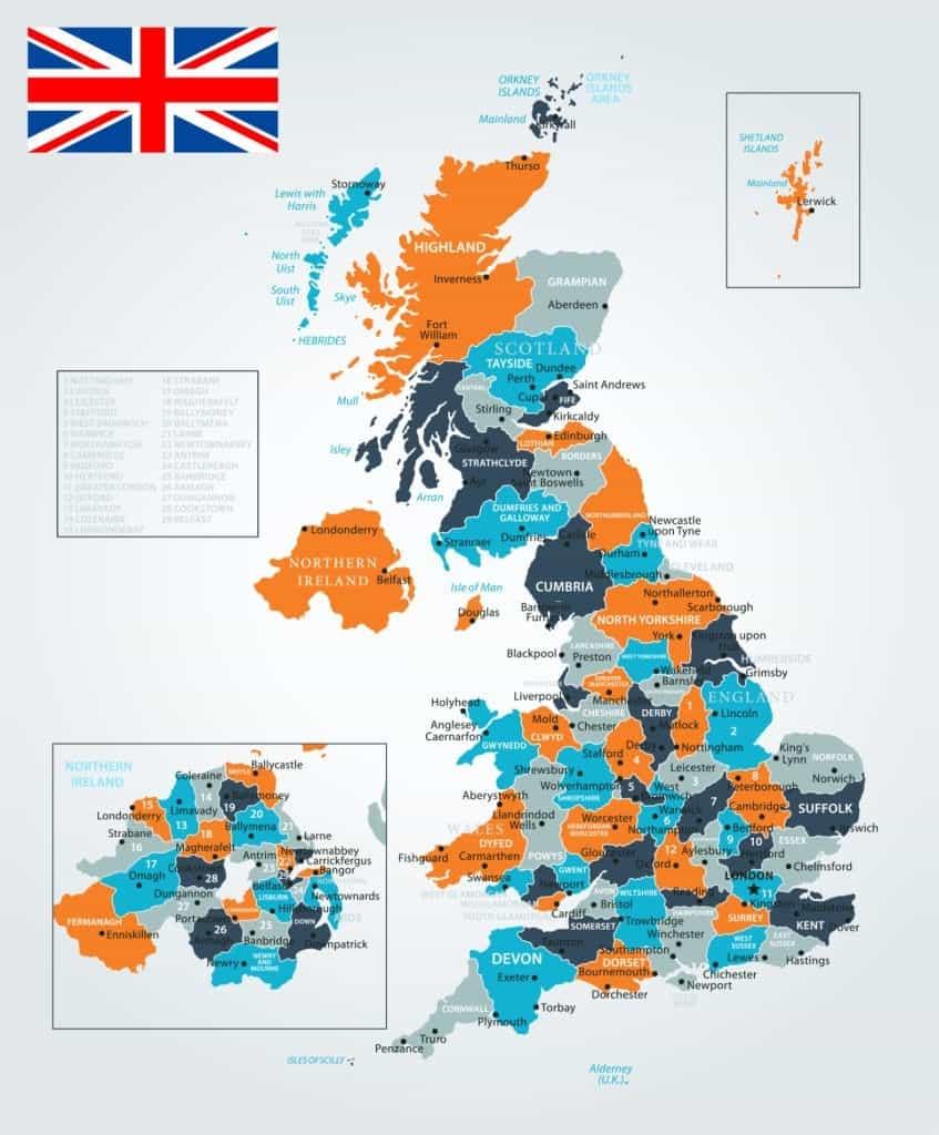 Gran Bretana Mapa Politico.Mapas Del Reino Unido De Gran Bretana E Irlanda Norte Para Descargar