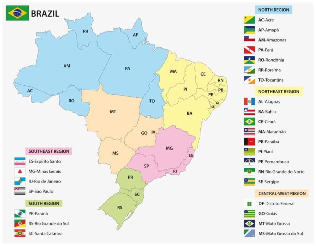 Mapa de estados de Brasil y sus banderas