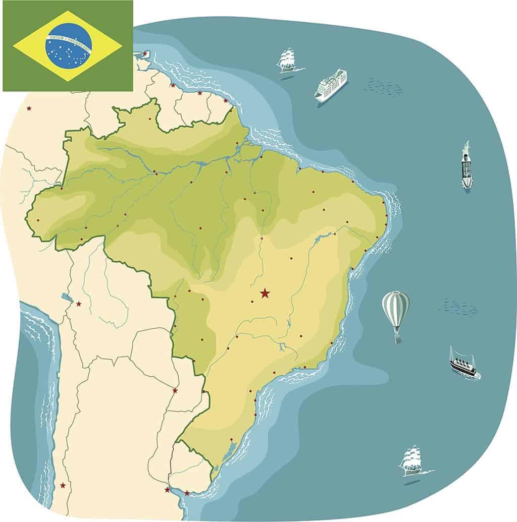 CIudades de Brasil en mapa mudo sin nombres
