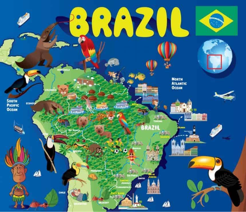 Mapa de Brasil para niños para dibujar