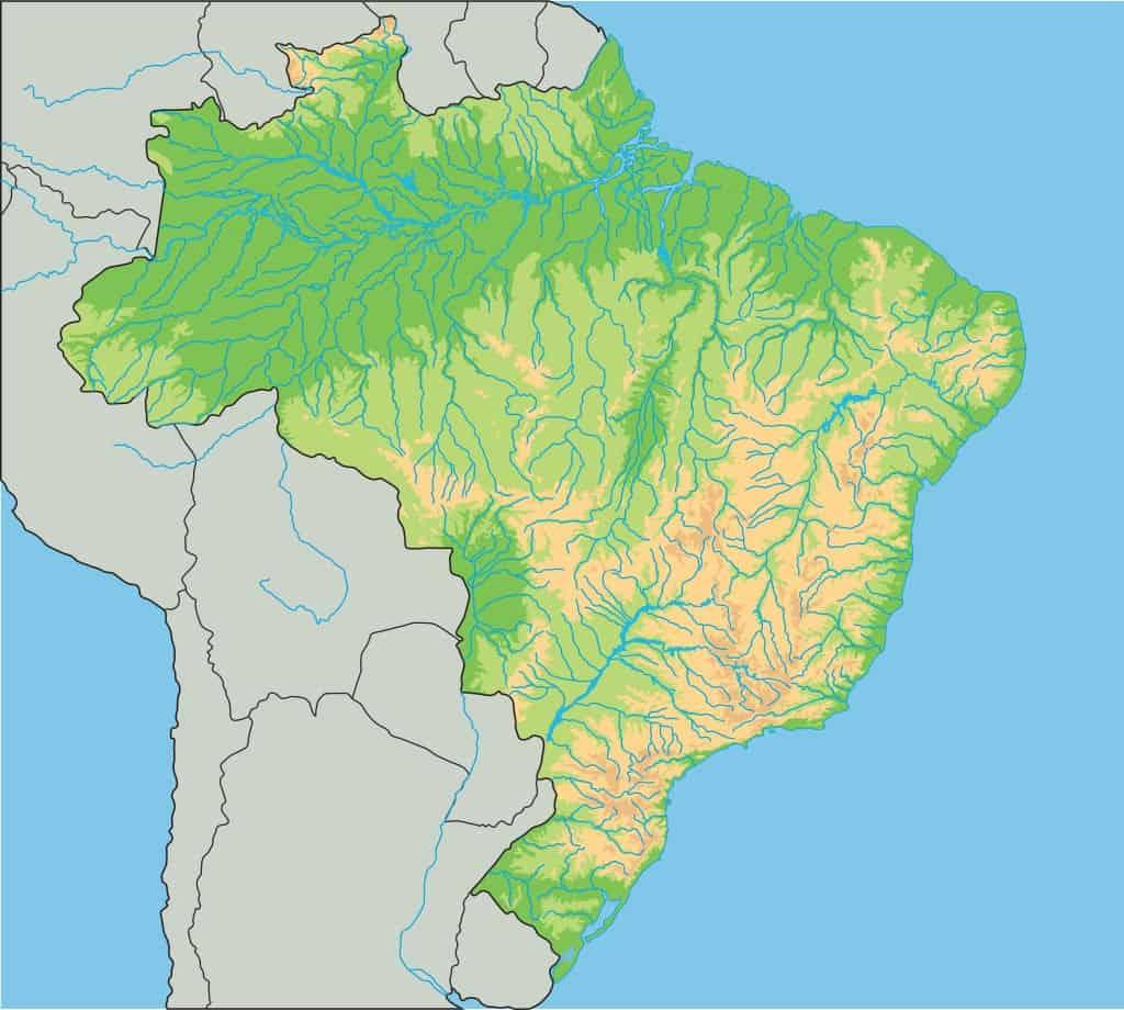 Mapa físico de Brasil, mapa mudo