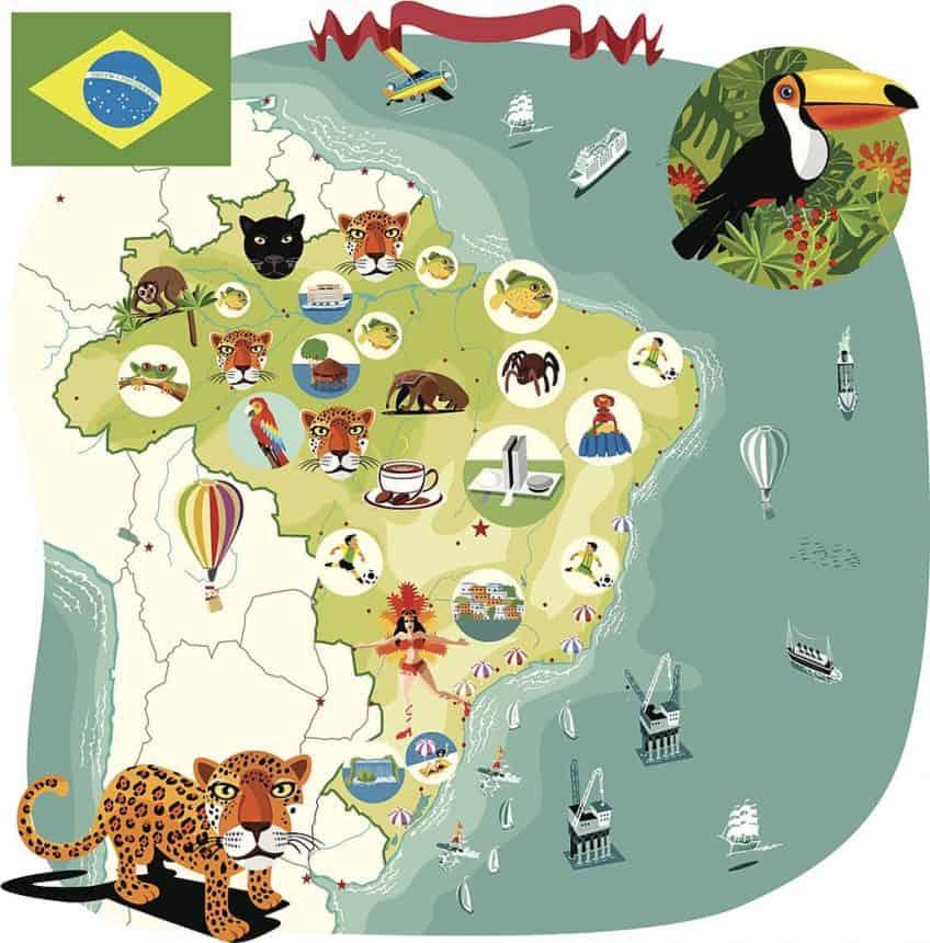 Mapa de Brasil con dibujos