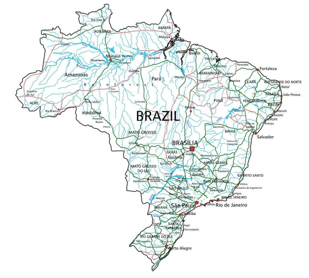 Mapa de Brasil con ríos