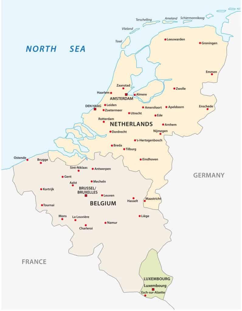 cuidades principales de Benelux