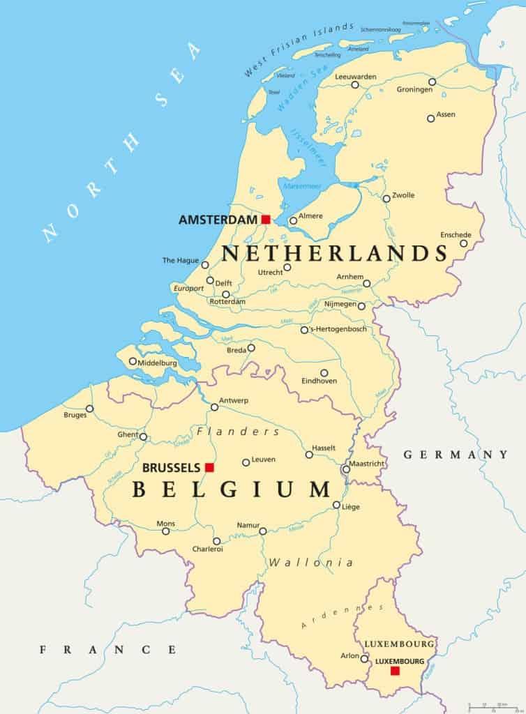 Región de Benelux: los 3 países y sus provincias