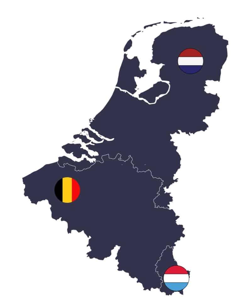 Mapa sin nombres de los paises de Benelux