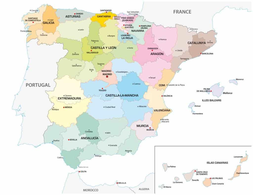 Mapa político de España: España mapa de provincias y comunidades