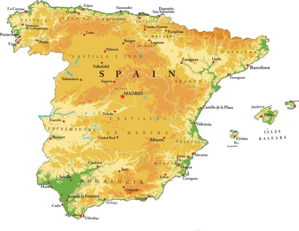 Mapa físico de relieve de estado español