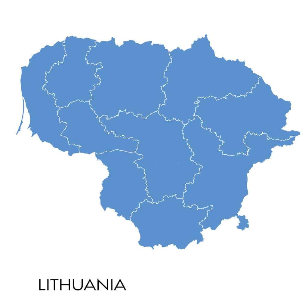 Mapa sin nombres - contorno de Lituania