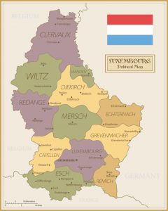 Mapa político de Luxemburgo, con regiones y sus capitales
