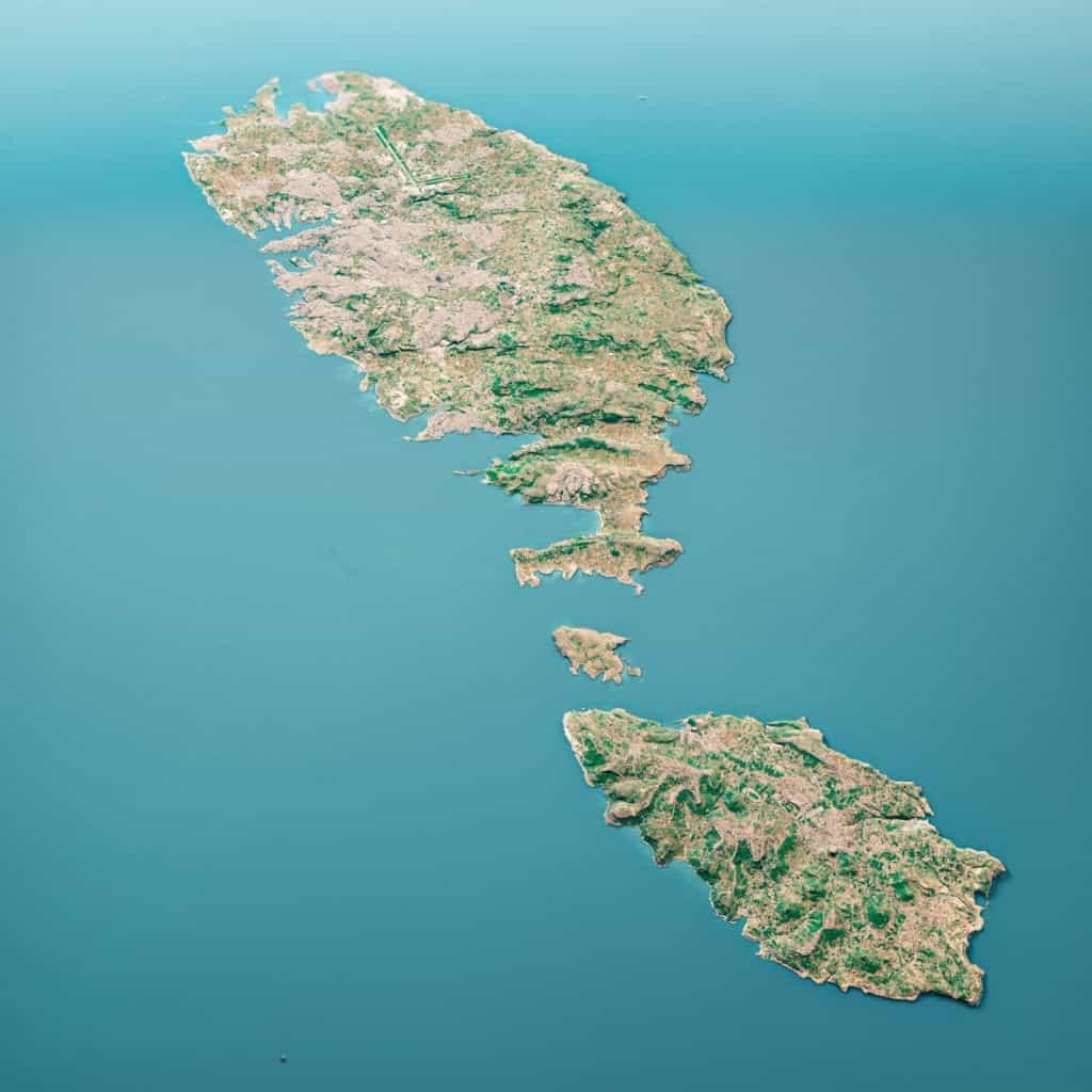 Mapa físico con montes y islas de Malta