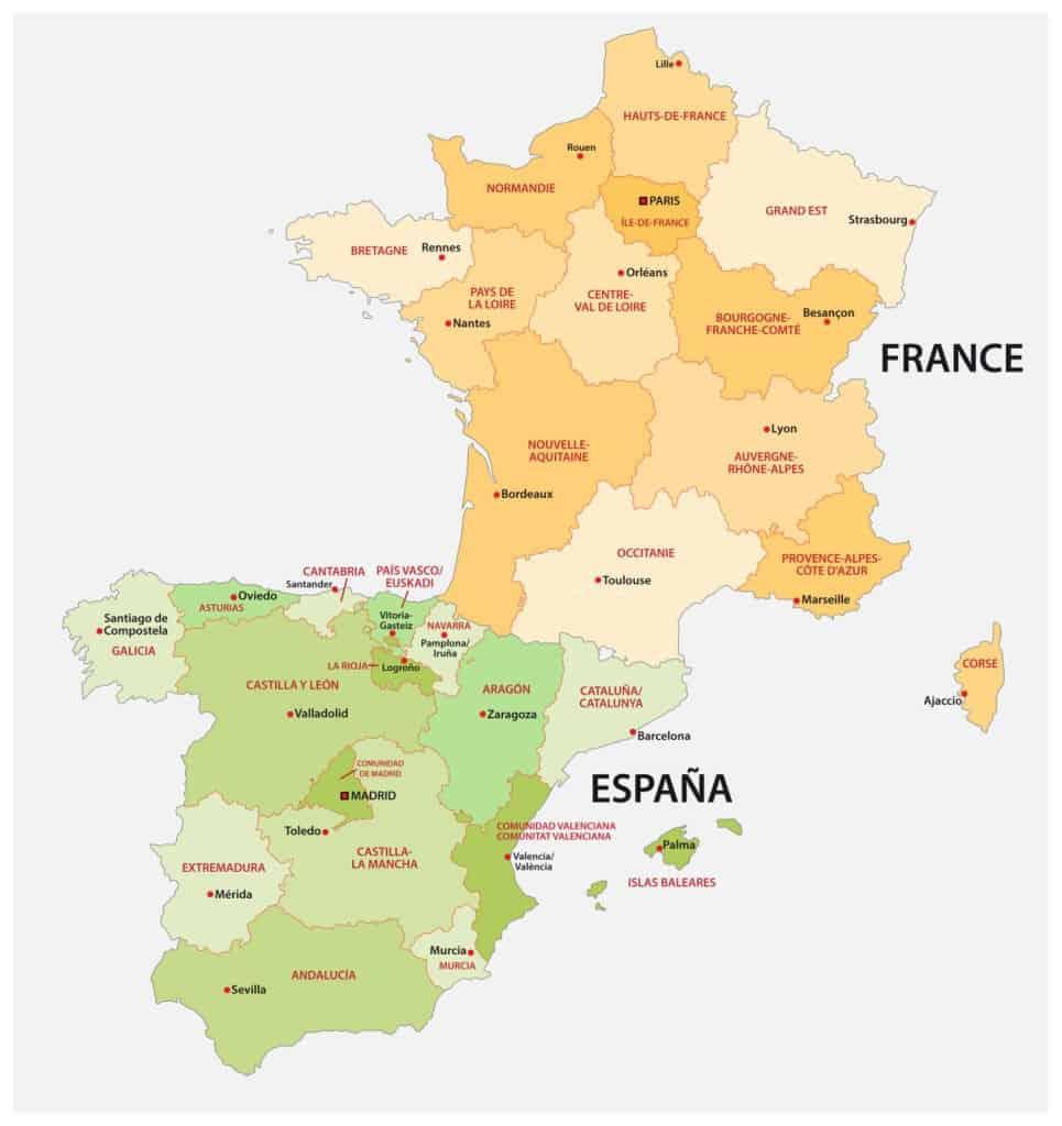 Mapa de provincias de España y Francia