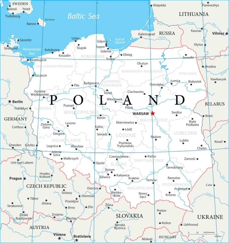 Mapa político de la República de Polonia