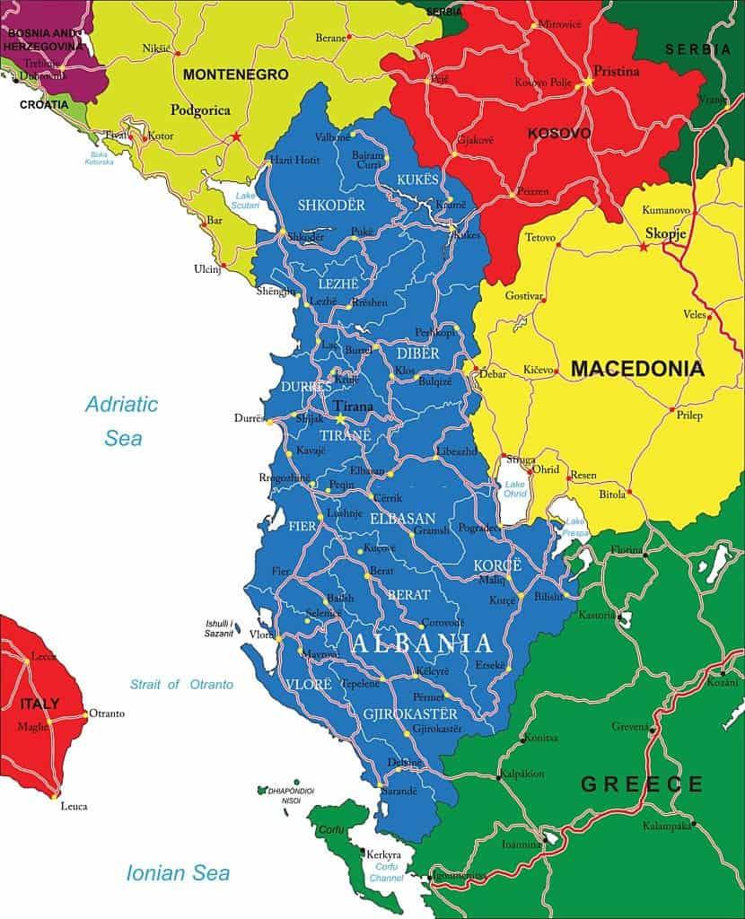 Mapa de carreteras de Albania para imprimir