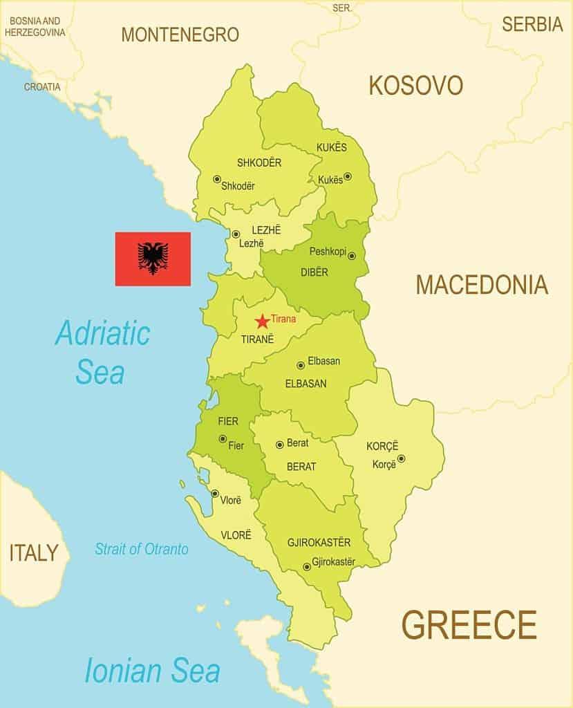 Mapa político de provincias de Albania