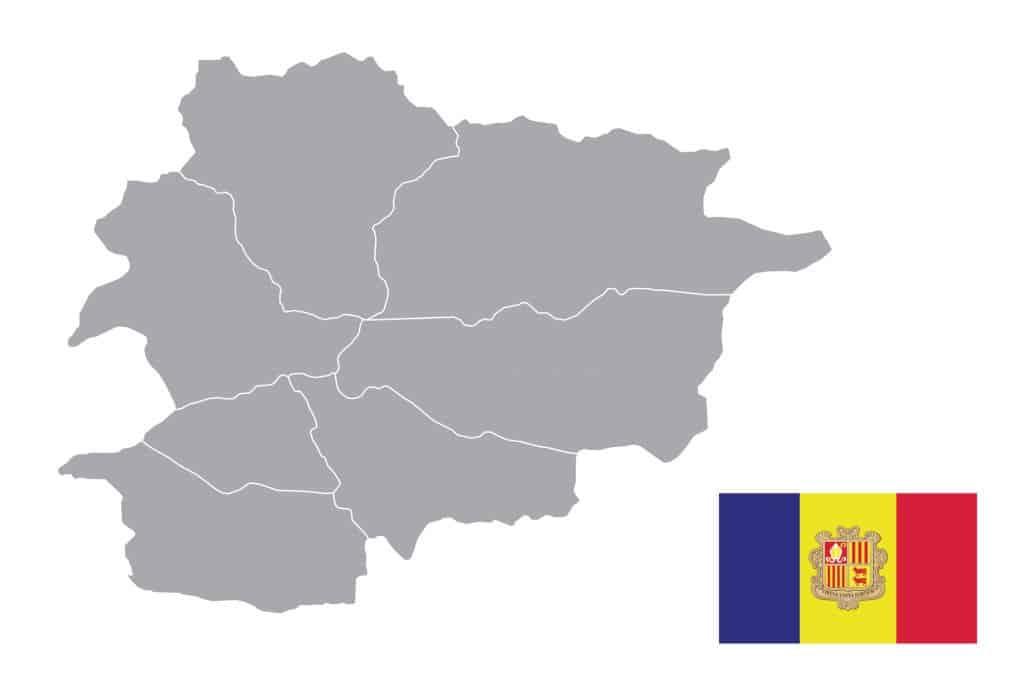 Mapa de Andorra sin nombres para colorear