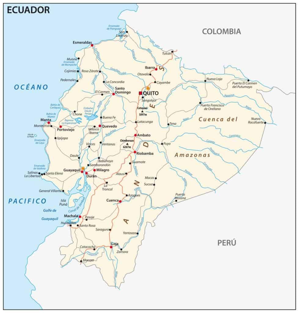 Mapa de la red fluvial de Ecuador