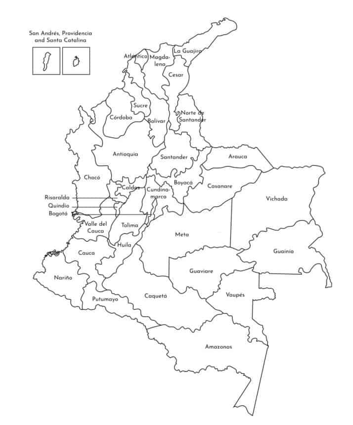 mapamundi de Colombia