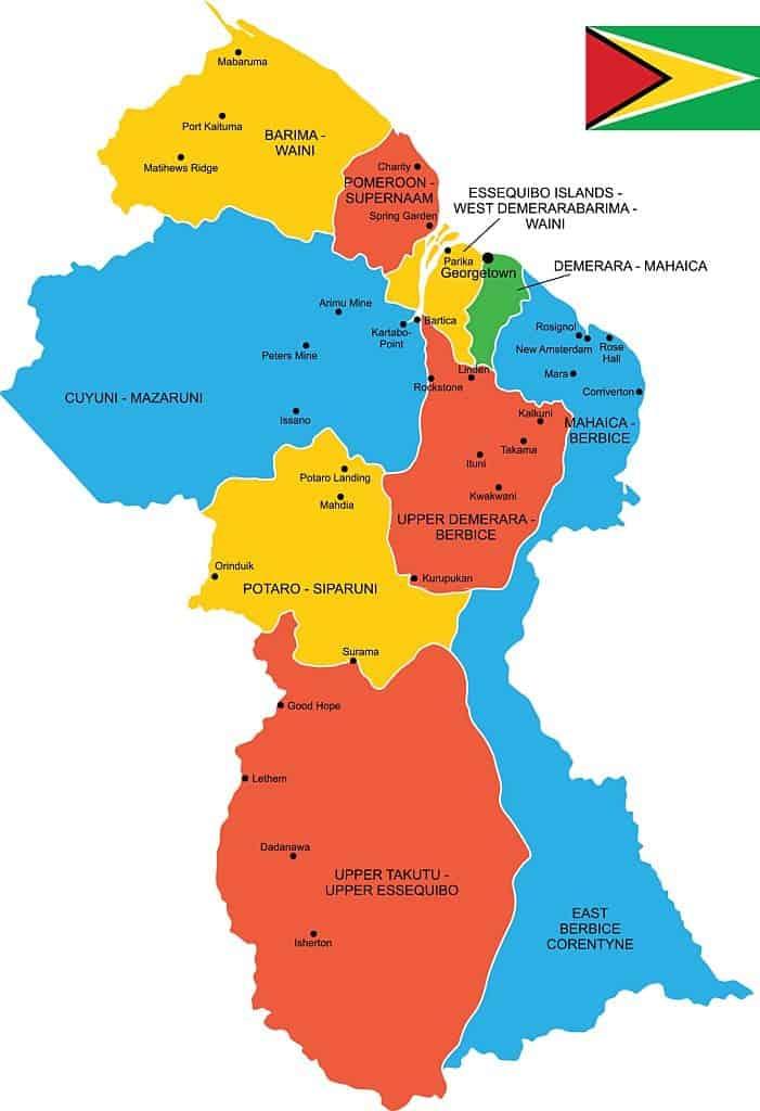 mapa y bandera de Guyana