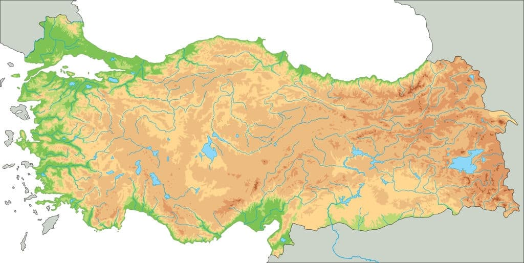 Mapa físico de Turquía sin nombres