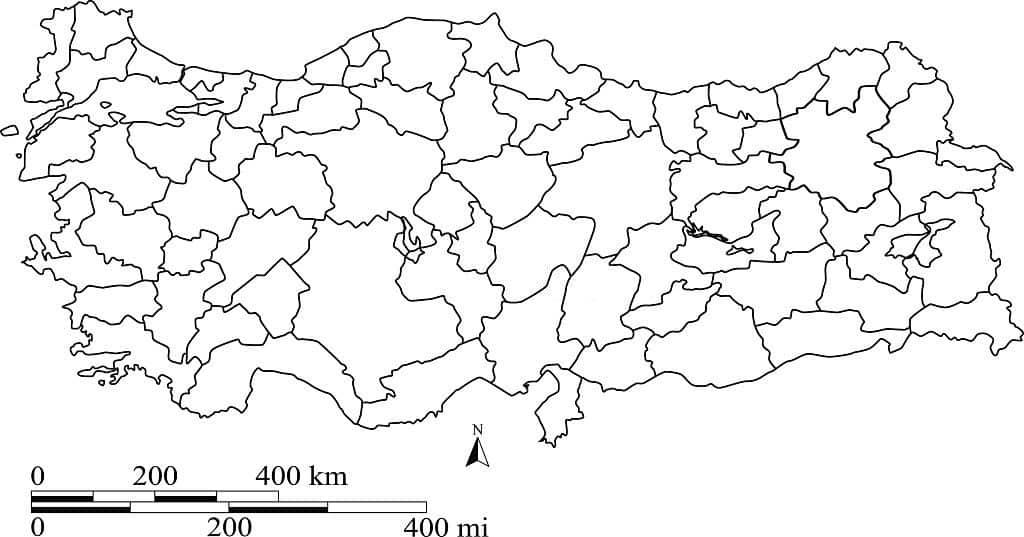 Turquía mapa en blanco