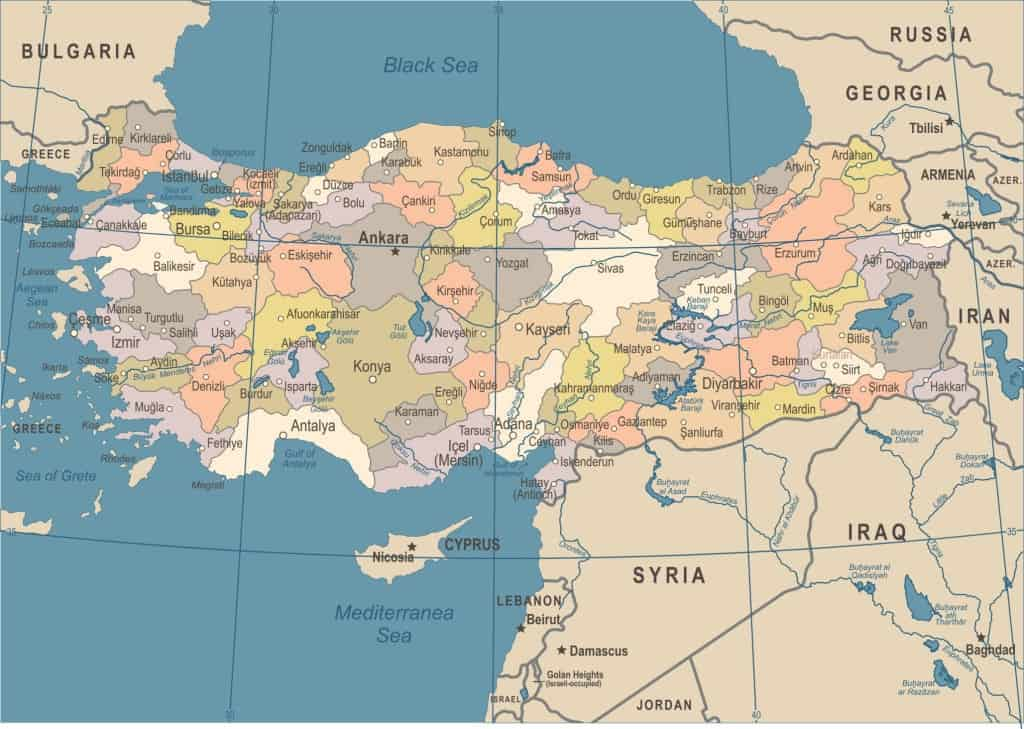 Mapa de Turquía regiones