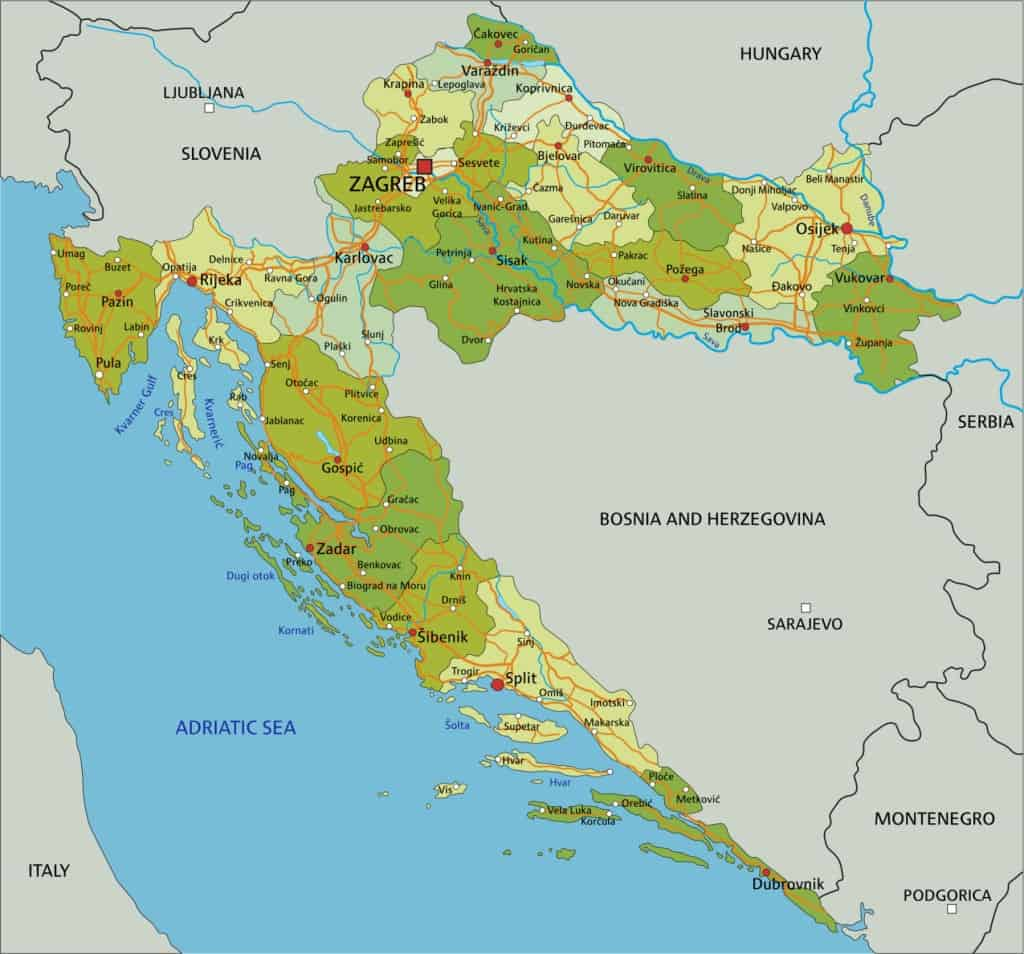 Mapa general de Croacia.