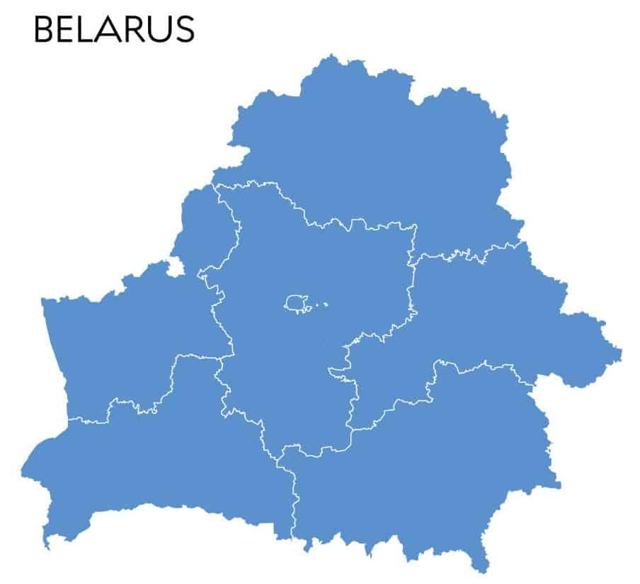 mapa sin nombres de Bielorrusia