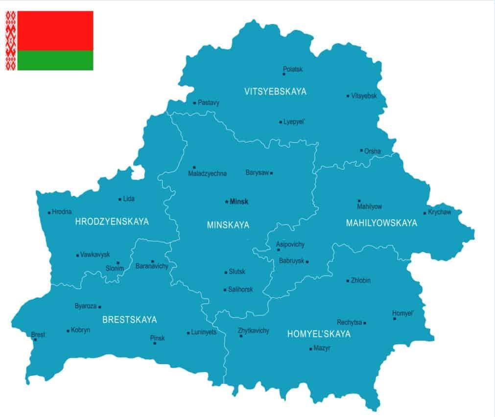 Mapa político de Belarús
