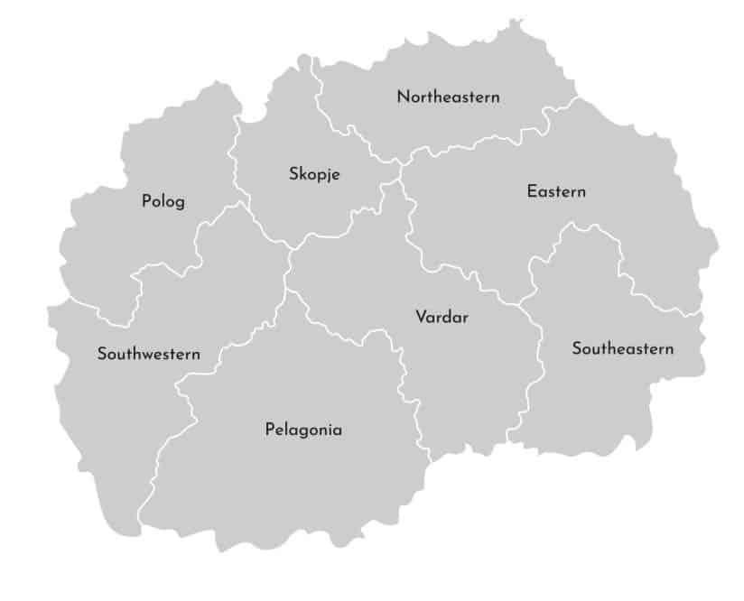 Mapa administrativo de Macedonia del Norte