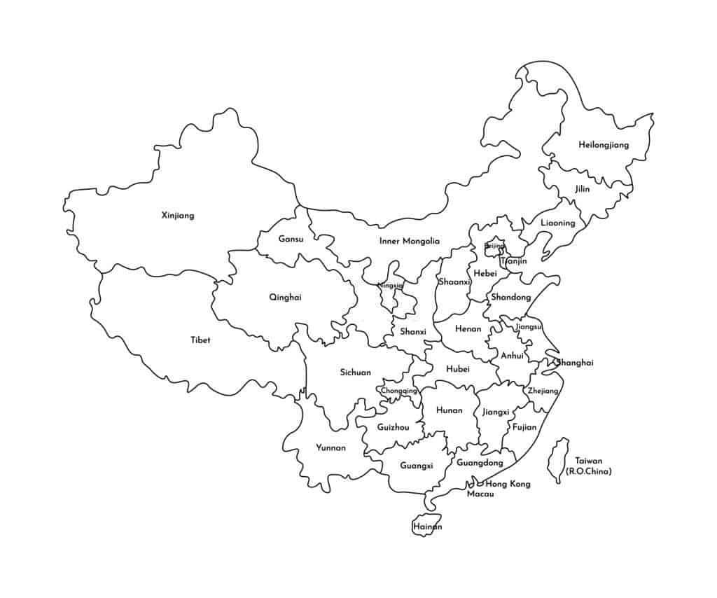Mapa de China en blanco y negro