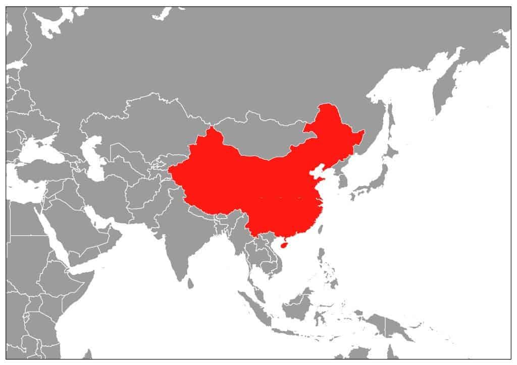 Mapa de China dentro de Asia