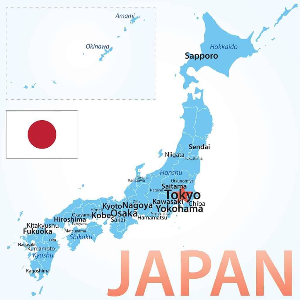 Mapa de ciudades de Japón