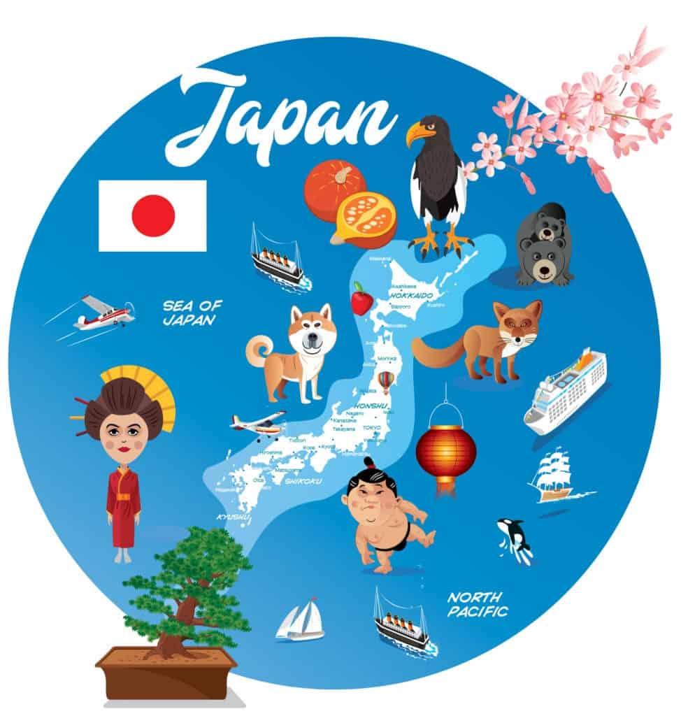 Mapa de Japón con dibujos