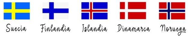 banderas de los países de Escandinavia