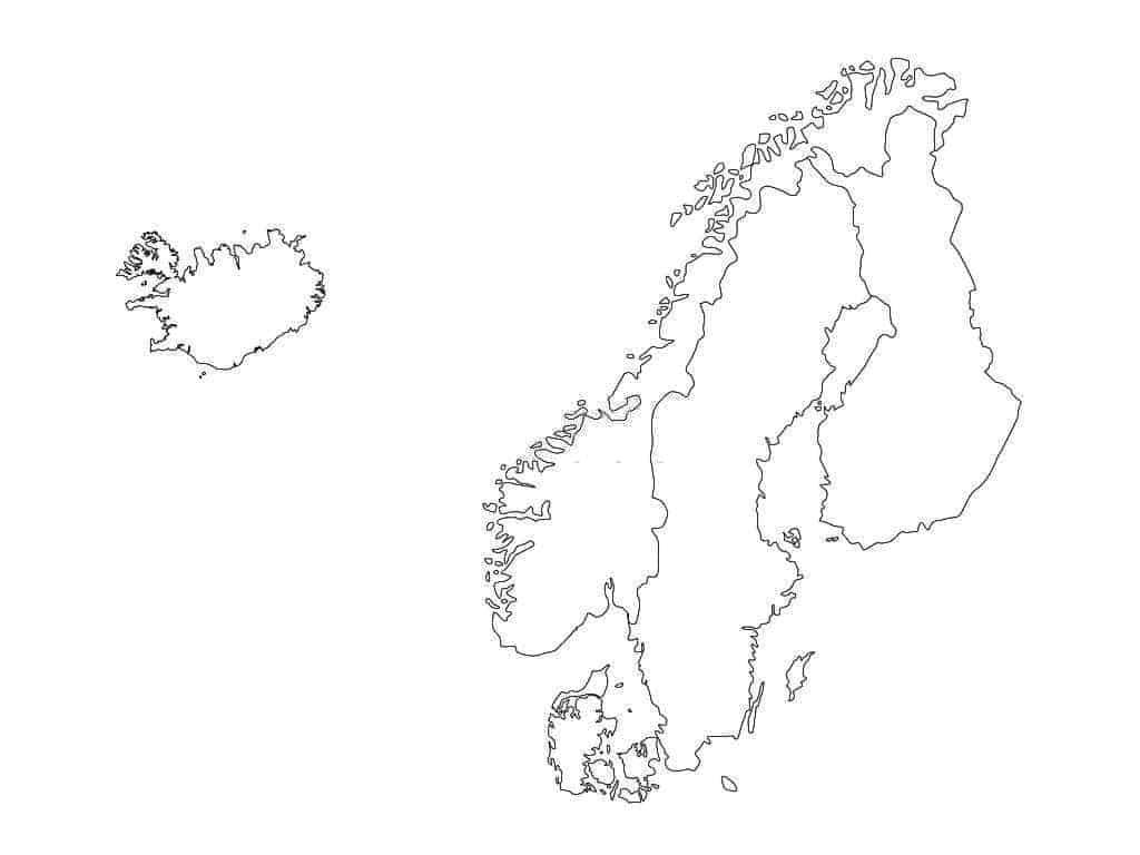 mapa de Escandinavia para descargar y colorear